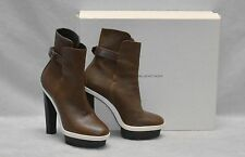 BALENCIAGA Khaki/Coffee Leather Buckle Strap Platform Hi Heel Boot Shoes Size 38