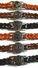 Leather Bracelets Metal Celtic Designs Centerpiece Double Plait Great on