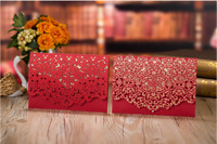 1/10/30/50pcs Luxury Red Lace Wedding Invitations Card Laser Cut Card & Envelope