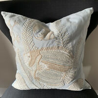 "Pottery Barn Throw Pillow 18"" X 18"" Embroidered Fish Pillow Coastal Seafoam"