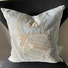 "Lot 2 Pottery Barn Throw Pillow 18"" X 18"" Embroidered Fish Pillow Coastal Tropic"