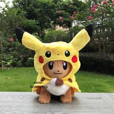"New Eevee Cosplay Pikachu Cloak Plush Toy Stuffed Animal Cartoon Doll 11"""