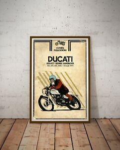 DUCATI Motorcycle 1974 Handbook POSTER! (up to 24x36) - Vintage - Antique - Art