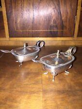 2 Salieren Silber 800er mit original Glaseinsatz und Löffel