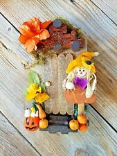 "Wooden Fairy Door with Scare Crow and Pumpkins - Halloween - 10"" X 7"""