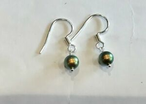 Stirling Silver Iridescent Pearl Hook Earrings