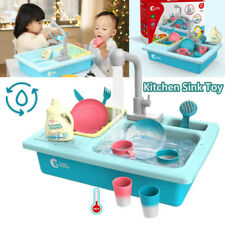 Pretend Play Kitchen Sink Play Set Toys With Running Water Dishwasher for Kids