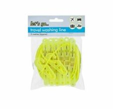 WASHING CLOTHES LINE CAMPING TRAVEL PEGS INDOOR / OUTDOOR  HOLIDAY LAUNDRY