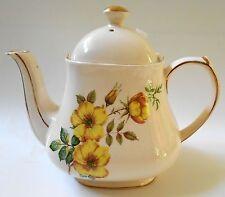 SADLER TEAPOT Yellow Flowers 4 CUPS Fine Porcelain ENGLAND Gold Trim Dahlia