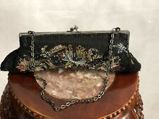 EUC White House Black Market Formal Evening Clutch Handbag Sequins Floral Black