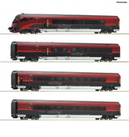 Roco 74084 HO Gauge OBB Railjet Coach Set w/Lights (4) VI