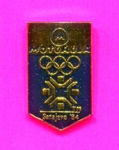 1984 SARAJEVO OLYMPIC PIN MOTOROLA PIN RARE ISSUE PIN LA 1984 PIN