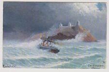 Jersey postcard - Les Casquets Channel (Artist C Earbalestier) - Oilette 1905