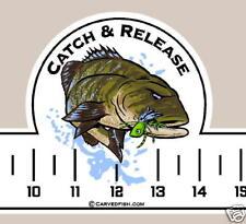 Catch & Release Fishing Ruler Decal/Sticker S.M. Bass