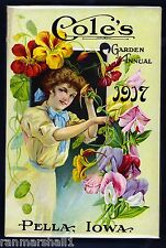 1917 Coles Garden Vintage Flowers Seed Packet Catalogue Advertisement Poster