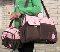4Pcs Carter's  Baby Changing Diaper Nappy Bag Mummy Shoulder Handbag Brown Pink