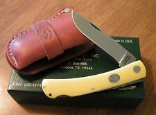 MOORE MAKER New Yellow Delrin Handle 1 Blade Lockback Sodbuster Knife/Knives