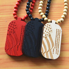 "3 Pcs New Good Quality HipHop Ameraica Flag Pendant Chain Wood Necklace,36"" Long"