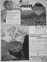 PUBLICITÉ VACANCES EN SUISSE FLIMS GRISON OBERLAND BERNOIS CHEMINS DE FER SUISSE