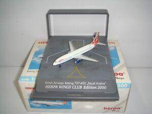 """Herpa Wings 500 British Airways B737-400 """"World Tail - Saudi Arabia 1:500 Boxset"""