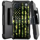Holster Case For LG K92 5G (2020) Kickstand Phone Cover - GREEN CAMO US FLAG