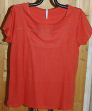 TOP TEE SHIRT MANCHES COURTES PAPRIKA GALONS MACRAMÉ BLANCHEPORTE T 46-48 NEUF