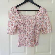 Lily Loves blouse size 10 sleeves cropped shirt casual teen floral pink evening