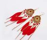 Leather Drop Earrings Tassel Dangle Vintage Gold Disc Bohemian Women's Jewelry