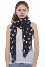 Scarf Stole Wrap Shawl Fashion Women Soft Navy Blue Golden Polka Dot Scarves New