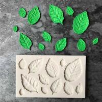 DIY Sugar Schokolade Silikon Form Rose Blätter Form Kuchen Fondant Deko O4I7