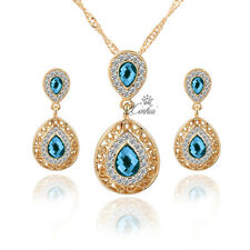 Gold Plated Crystal Zircon Pendant Necklace Earring Set Fashion Jewelry Sets