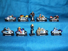 Minature Porcelain MOTORCYCLES Set 10 Mini Figurines FRENCH FEVES Black Harley
