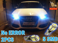 2x 5 SMD LED 501 T10 W5W CANBUS ERROR FREE XENON WHITE SIDE LIGHTS / N.PLATE 6K