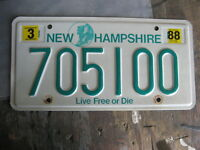 1988 88 NEW HAMPSHIRE LICENSE PLATE # 705100  NATURAL STICKER