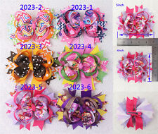 "Free shipping 6pc 5"" Boutique Christmas party Baby Girl Hair bow clip 2023-1-6-Y"