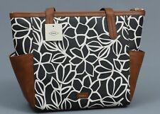 FOSSIL WHITE W/BLACK Coated Canvas & Leather Trim Mini Shopper