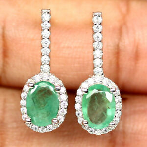 NATURAL 5 X 7mm. OVAL GREEN EMERALD & WHITE CZ EARRINGS 925 SILVER STERLING