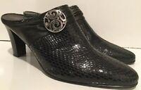 Brighton Ravish Black Heels Mules Rhinestone Detail Womens 9.5