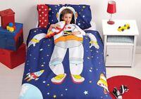 Spaceman Duvet Doona Quilt Cover Set   Reversible   + Spaceship Cushion   Single
