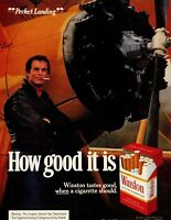 1973 Winston Cigarettes Airplane Propeller Man Smoking Vintage Color Print Ad