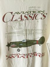 JERZEES TEE T SHIRT UNIVERSAL AVIATORS - WARBIRD GRAPHIC - CURTISS P40E WARHAWK