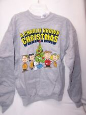 Charlie Brown Peanuts Christmas Sweatshirt Adult SMALL 34-36 Gray nEW