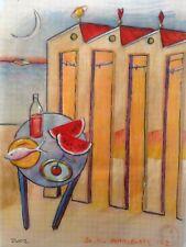 "Dimitris C. Milionis ""AEGEAN SCIENCE"" Colored Drawing Paper Seascape Greek 2002"