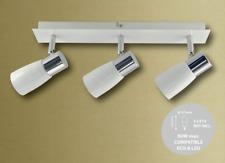 Abakus 3 Way Spotlight Bar Ceiling Light E14 in White and Chrome Finish