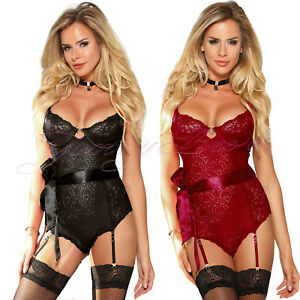 Babydoll Teddy Body Chemise Suspenders Underwired Sexy Lingerie Plus Size 8-22