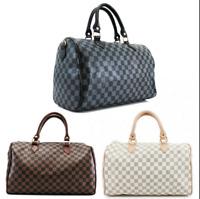 Womens Barrel Shaped Duffel Checkered Nano Shoulder Bag Crossbody Handbag