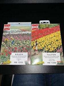 Busch HO 1205 / 1206 Tulip And Roses Opened Packs