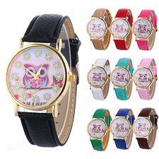 Fashion Women Watch Owl Pattern Flower Leather Band Analog Quartz Wrist Watches