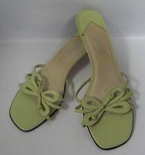 Talbots Light Green Sandals Slides Heels Bow Size 8B (SL 76) Womens