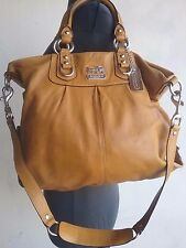 COACH MADISON JULIAN CROSSBODY BAG TAN LEATHER SIZE L